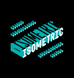 isometric 3d style font typography design vector image