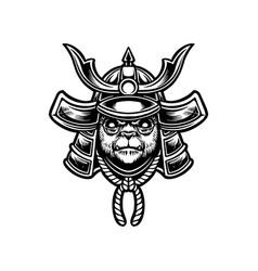 japanese samurai warrior panda mascot silhouette vector image