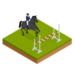 Jumping horse and rider practicing at racetrack vector