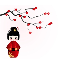 Kokeshi doll under sakura branch vector image