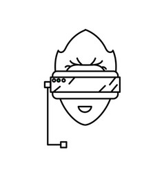 Line boy face with 3d glasses to dimension vector
