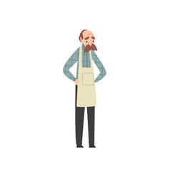 Male seller senior man in apron vector