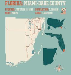Map miami-dade county in florida vector