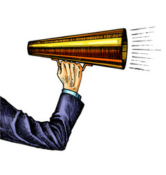 megaphone in hand sketch color vector image