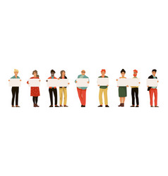 men and women with placards young persons holding vector image