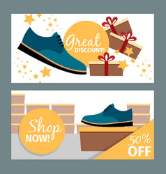 Men summer blue shoe store flyers vector