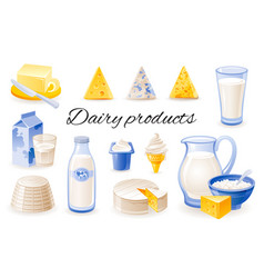 Milk dairy product icon set with cheese cheddar vector