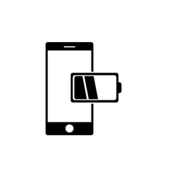 Mobile phone low battery charge vector
