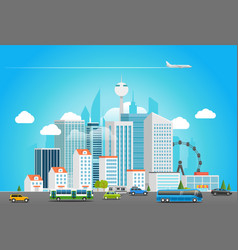modern city life cityscape with transport vector image