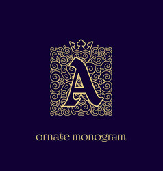 Monogram with crown a vector