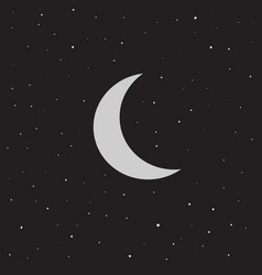 Moon and stars flat vector