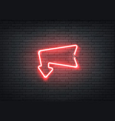 Neon entrance red arrow for bar night club vector