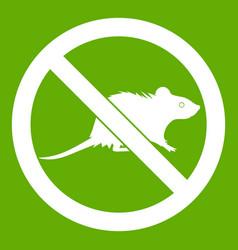 No rats sign icon green vector