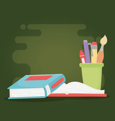 online education books and stationery supplies vector image