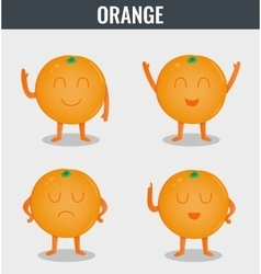 Orange Funny cartoon fruits Organic food vector