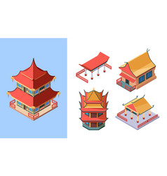 oriental temples and palaces isometric set asian vector image