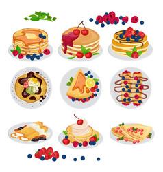 Pancake breakfast sweet homemade food vector