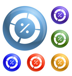 percent pie chart icons set vector image