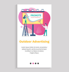 promote product billboard and people ad vector image