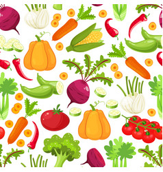 raw vegetables with sliced pepper eggplant garlic vector image