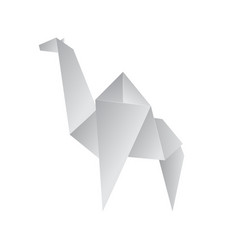 Realistic detailed 3d origami paper animal camel vector