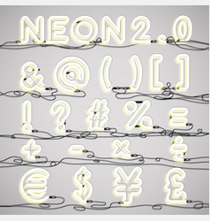 Realistic neon alphabet with wires vector