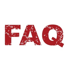 Red grunge faq logo vector