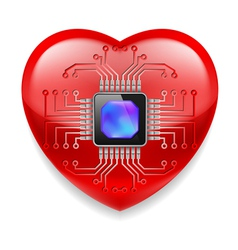 Red heart with microchip vector