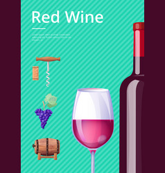 Red wine poster bottle of delicious alcohol drink vector
