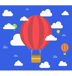 Retro hot air balloon fly sky background vector image