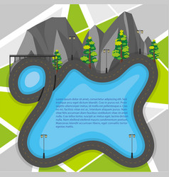 Road map with mountains and trees vector