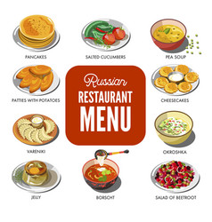 Russian cuisine traditional food icons for vector