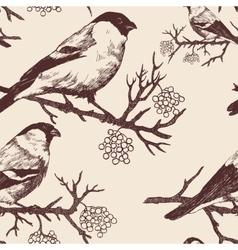 Seamless bullfinch pattern Hand drawn vector