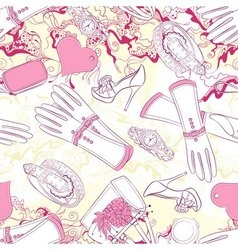 Seamless pattern with gloves and fashion vector image