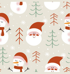 seamless pattern with santa claus and snowman vector image