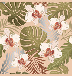 seamless vintage style pattern exotic plants vector image