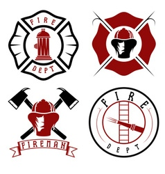 Set fire department emblems and badges vector