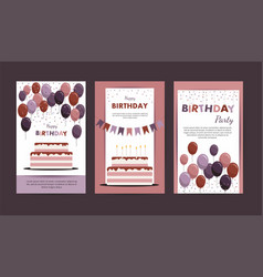 set happy birthday cards vector image