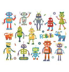 Set of cartoon robots vector