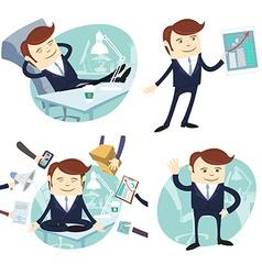 Set of officeman lazy worker foot on desk salesman vector