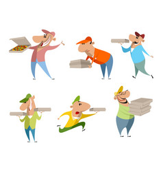 set of six pizza deliverers vector image