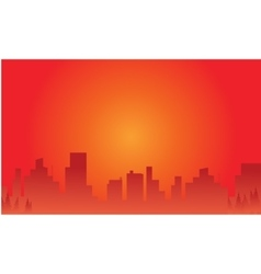 Silhouette of city at afternoon vector