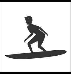 silhouette of surfer riding on surfboard vector image