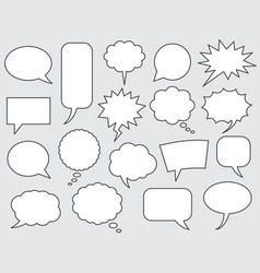 Speech bubbles comics stroke line vector