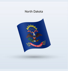 state of north dakota flag waving form vector image