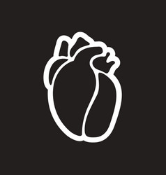 Stylish black and white icon human heart vector