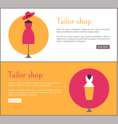 Tailor shop two colorful cards vector