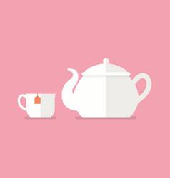 tea ceramic teapot and cup vector image