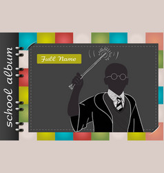 Template of a school album wizard vector