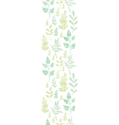 Textile textured spring leaves vertical border vector